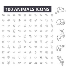 animals editable line icons 100 set vector image