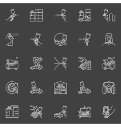 Auto painting outline icons vector image
