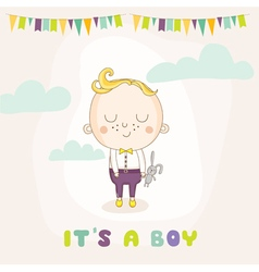 Baby Shower or Arrival Card - Baby Boy with Bunny vector
