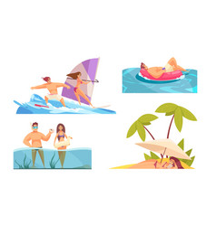 beach activities compositions set vector image