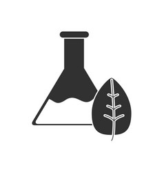 Black icon on white background lab flask with leaf vector