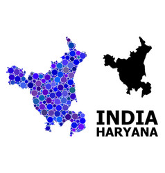 Blue circle mosaic map haryana state vector