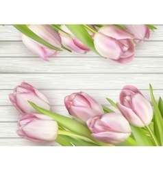 Bouquet of tulips on a wooden background EPS 10 vector image