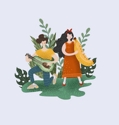 boy and girl who play musical instruments in form vector image