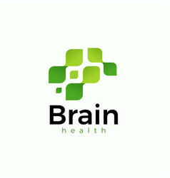 Brain from green leaves icon logo vector