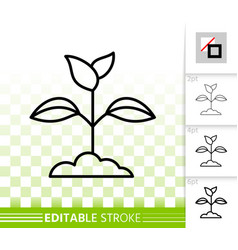 Branch leaves simple black line icon vector