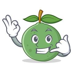 Call me guava mascot cartoon style vector