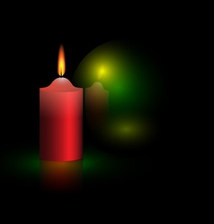 Candle and green ball vector