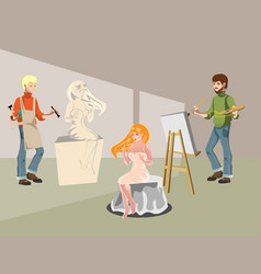 cartoon sculptor and painting artist vector image