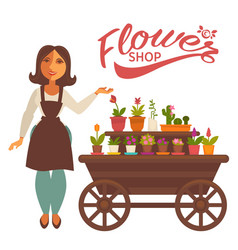 Cheerful woman near wagon with flowers vector