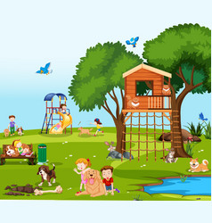 children playing with pets in park vector image