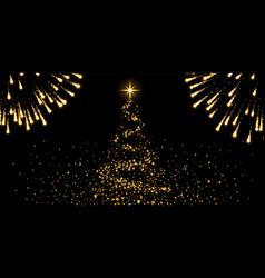 christmas tree firework black background gold vector image