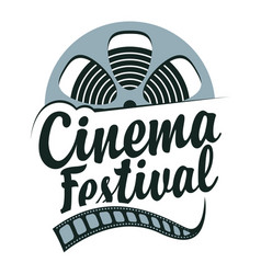 Cinema festival poster with film strip reel vector