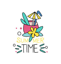 cocktail with straw and umbrella summer time vector image