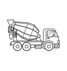 Concrete mixer truck black and white vector