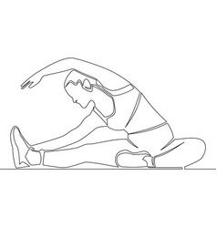 continuous line athletic woman stretching concept vector image