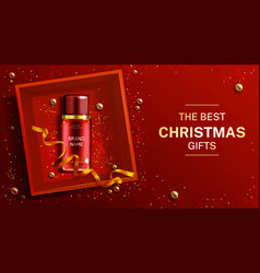 cosmetics bottle christmas banner beauty product vector image