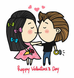 cute couple kissing holding surprise gift cartoon vector image