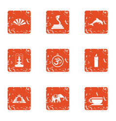 Diversity of east icons set grunge style vector