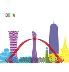 Doha skyline pop vector image
