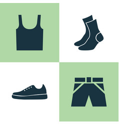 dress icons set collection of sneakers half-hose vector image