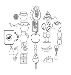 Elite tea icons set outline style vector