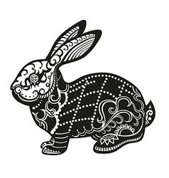 Ethnic ornamented rabbit vector
