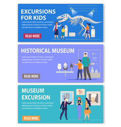 Excursions for kids and adults ad header banner vector