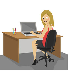 Female ofiice worker working on laptop vector