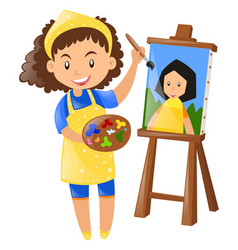 Female painter painting on canvas vector