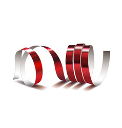 festive red ribbon on white background realistic vector image