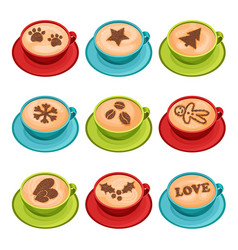 Flat set of mugs of hot coffee with latte vector
