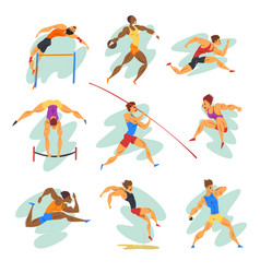 flat set of professional athletes in vector image