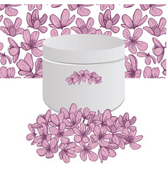 flowers bouquet white box with pink blossoms vector image