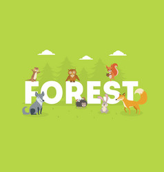 forest banner cute wild animals with giant vector image