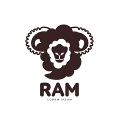 Front view silhouette ram sheep lamb head vector