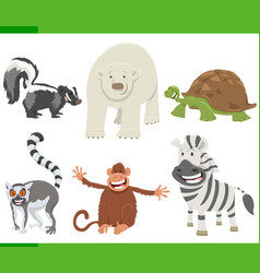 funny cartoon animal characters collection set vector image