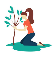 girl planting tree ecology and environment vector image