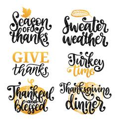 Give thanks turkey time etc handwritten vector