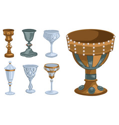 goblet gold and glass decorated cups and mugs vector image