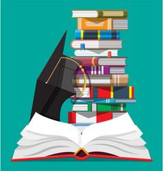 Graduation cap and stack books vector