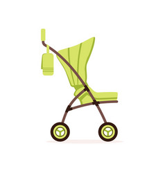 Green baby carriage safe handle transportation of vector