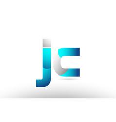 Grey blue alphabet letter jc j c logo 3d design vector