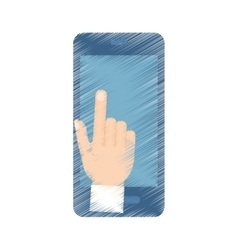 Hand draw hand touch smartphone payment color vector