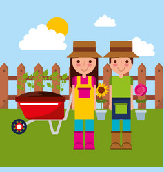 happy gardener couple with wheelbarrow potted vector image