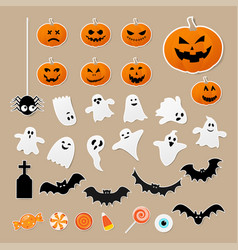 happy halloween set characters in cartoon vector image