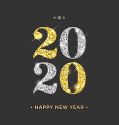 Happy new year 2020 greeting card golden and vector