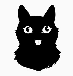 head a black cat with cute face vector image