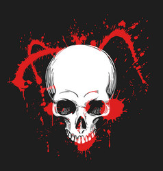 human skull in blood splashes vector image