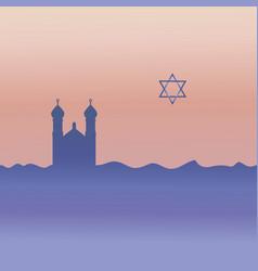 Judaism synagogue and david star vector